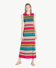 Kleid mit Lurex Multicolor-Lurexstreifen Frau TS833N-01