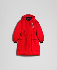 Technical satin padded parka coat Poppy Red Woman 192MP2082-0S