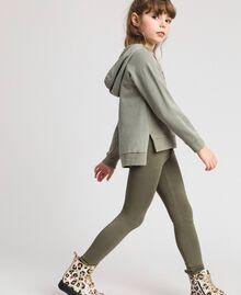 Leggings aus Jersey mit Spitze Rosa Bouganville Kind GCN2F4-03