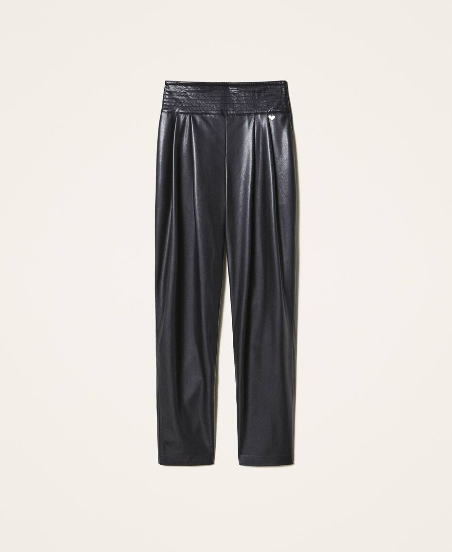 High waist faux leather trousers Black Woman 202TP2061-0S