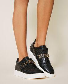 "Sneakers con logo Stampa Coccodrillo Bianco ""Neve"" Donna 202TCP034-0S"