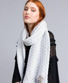 Schal mit Stickereien aus Wollgemisch Weiß Schnee Frau QA8TKP-0S