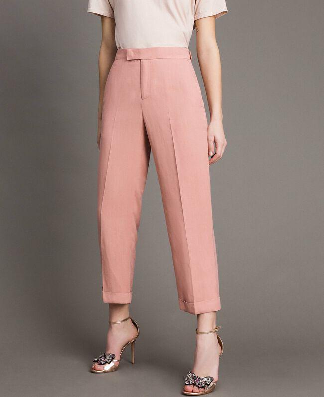 09048ffeaa Pantaloni cropped in misto lino Donna, Bianco | TWINSET Milano