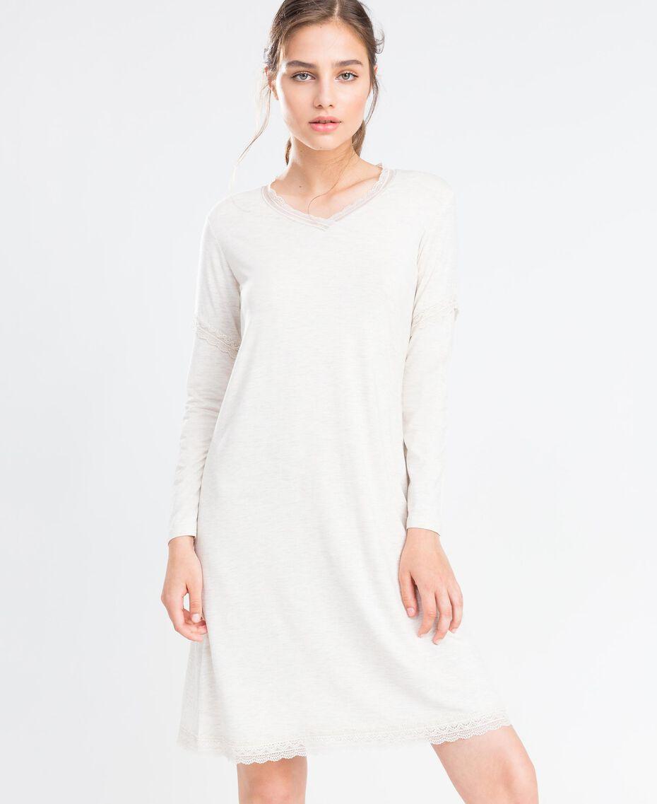 Nachthemd aus Jersey Elfenbeinmelange Frau LA8BEE-02