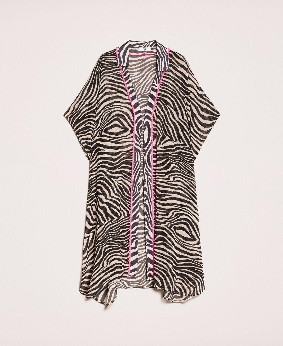 Animal print georgette kaftan Black Zebra Print Woman 201LB2GFF-0S