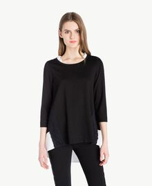 Ruched blouse Black Woman PS828H-01