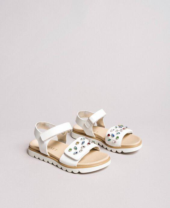Sandals with multicolour rhinestones