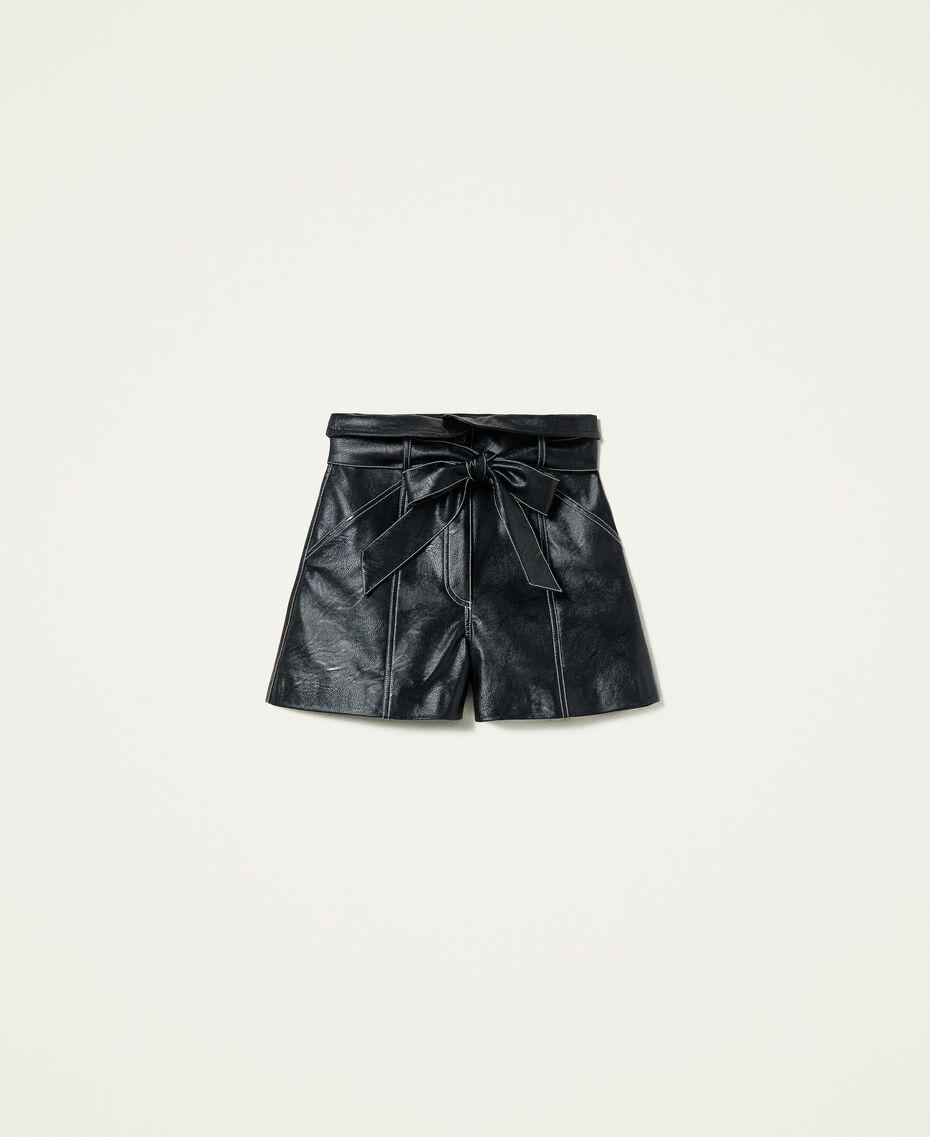 High-Waist-Shorts mit Gürtel Schwarz Frau 212TP2510-0S