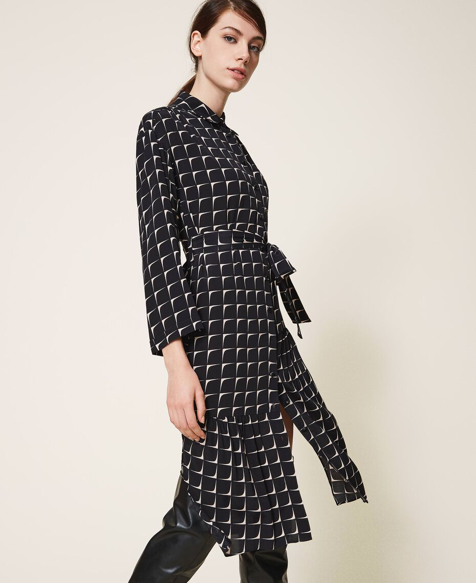 "Printed crêpe de Chine shirt dress Black /""Nude"" Beige Optical Print Woman 202ST2501-02"