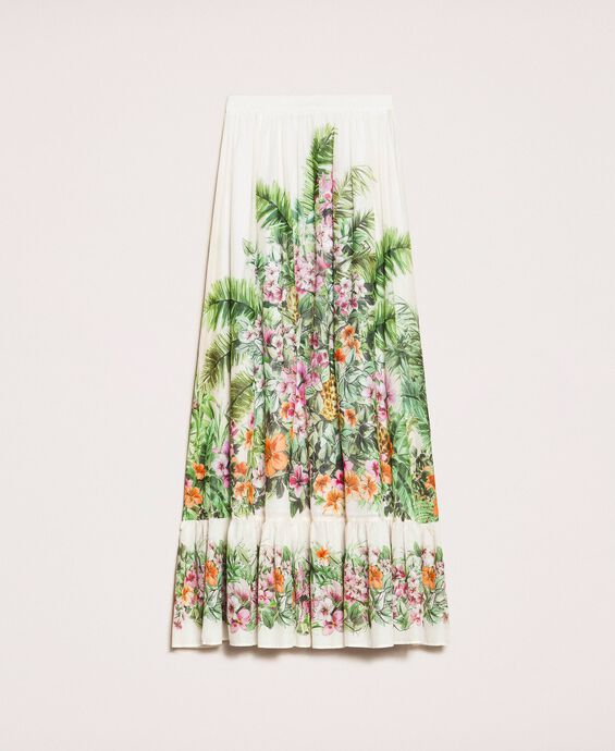 Long skirt with floral print