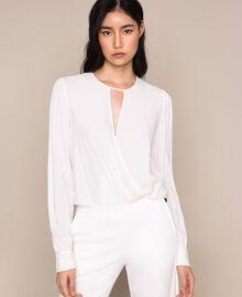 Блуза-боди из смесового шелка Белый Снег женщина 201TP2504-01