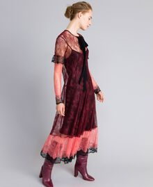 "Valencienne lace multi-colour long dress Burgundy Multicolour / ""Royal Pink"" Woman PA82FS-01"