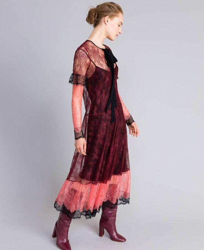 Robe longue en dentelle de Valenciennes multicolore Multicolore Bordeaux / Rose Royal Femme PA82FS-01