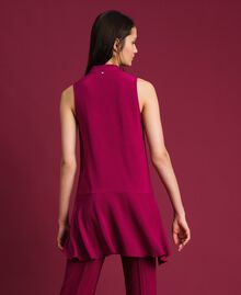 Georgette blouse with pussy bow Beet Red Woman 192TP2383-03