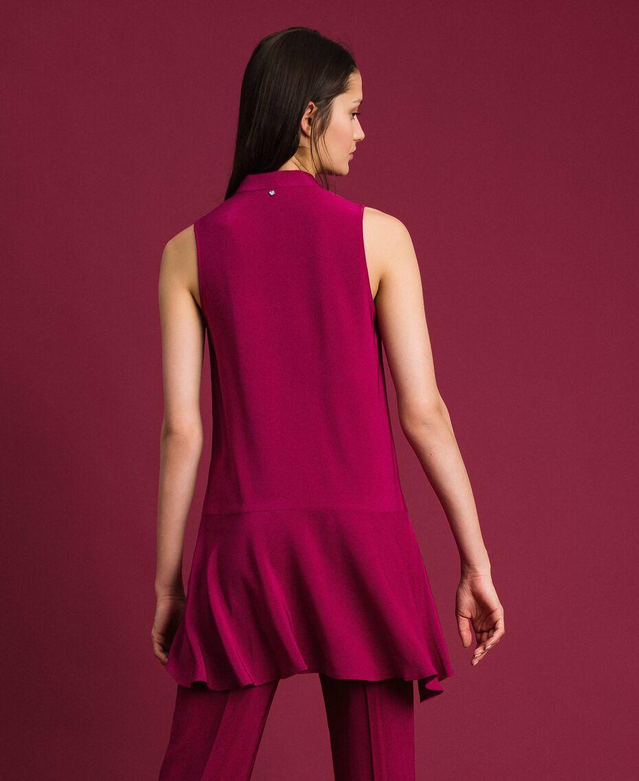 Blouse en crêpe georgette avec col lavallière Rouge Betterave Femme 192TP2383-03