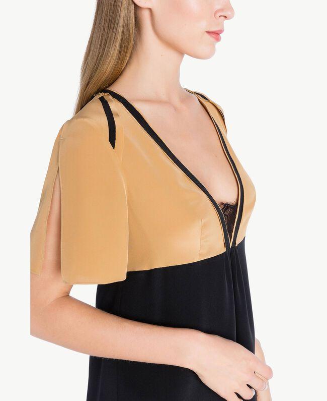 Kleid aus Seide Honigbeige / Schwarz PA72FQ-04