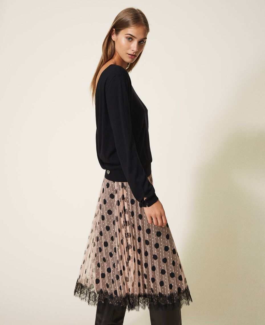Pleated tulle skirt with lace Nude Beige Polka Dot Print Woman 202ST2065-02
