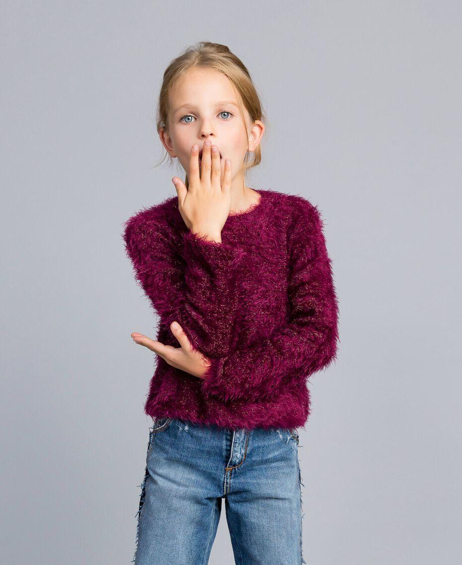 Pull en point fourrure Violet Raisin Doux Enfant GA83D2-0S