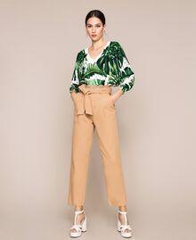 Maxi maglia stampata con paillettes Stampa Tropical Pois Verde Donna 201TP3263-0T