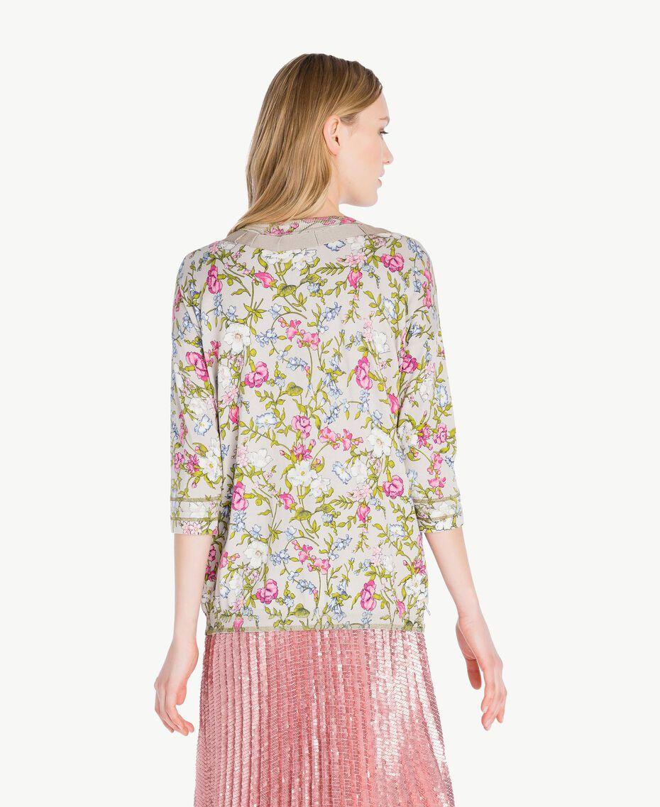 Embroidered mandarin collar top Floral Print Woman PS83LF-03