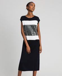 Robe color block avec broderie de sequins Rayé Noir / Blanc «Neige» / Gris Chiné Foncé Femme 192ST3073-01