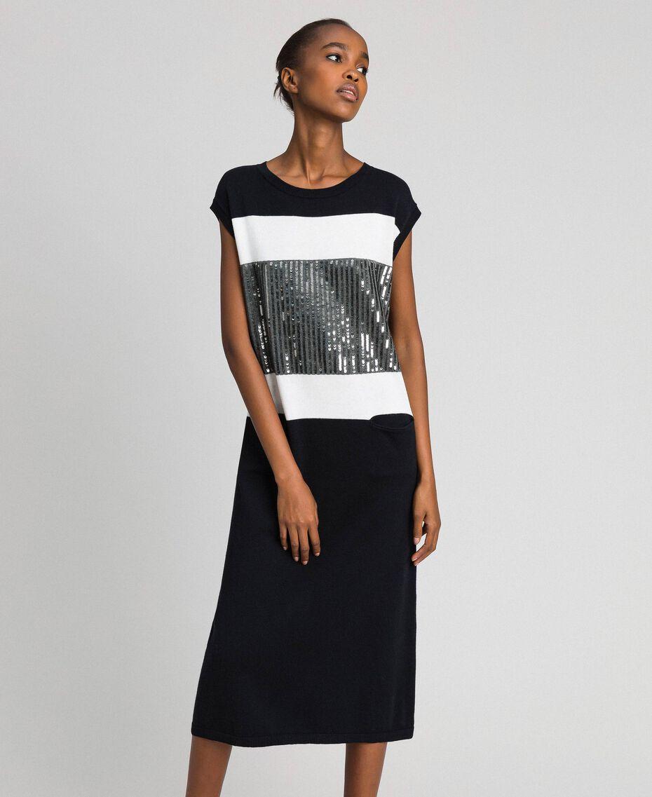 Color-Block-Kleid mit aufgestickten Pailletten Streifen Schwarz / Schneeweiß / Meliertes Dunkelgrau Frau 192ST3073-01