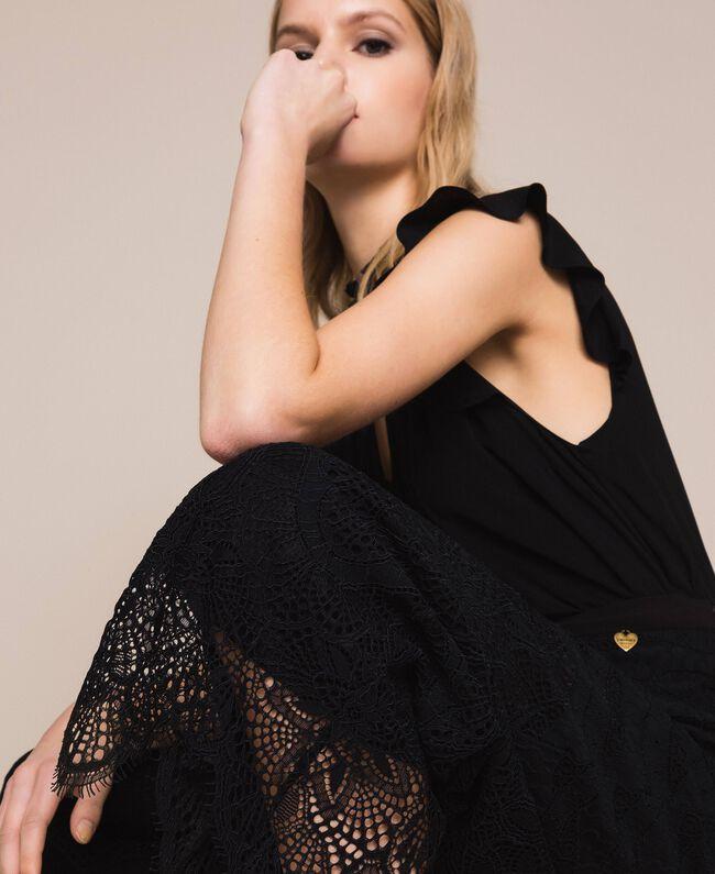 Macramé lace trousers Black Woman 201TP2033-04