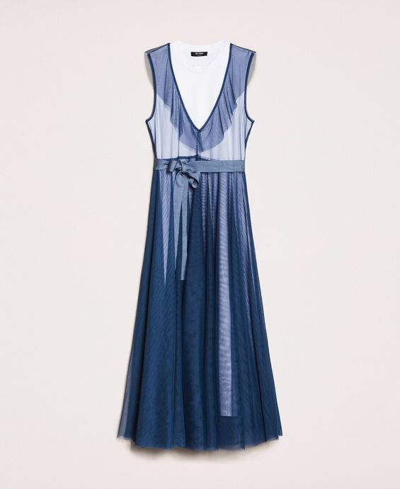 Langes Kleid aus Tüll mit Volant