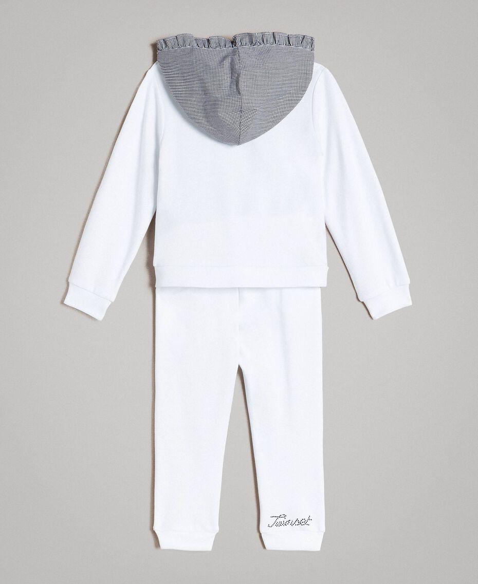 Fleece-Trainingsanzug mit Gingham-Details Zweifarbig Optisch Weiß / Gingham Kind 191GB2210-0S
