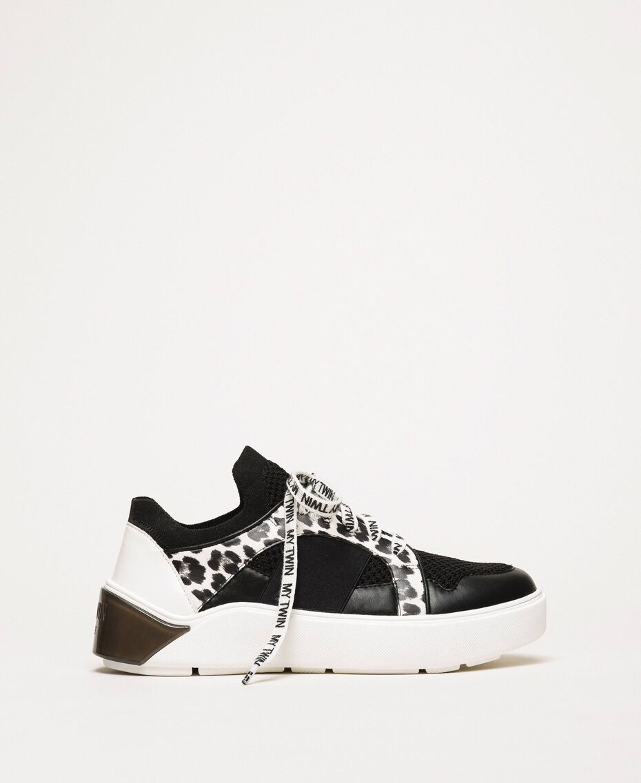 Mesh trainers with animal print detail Two-tone Black / Animal Print Woman 201MCP132-02