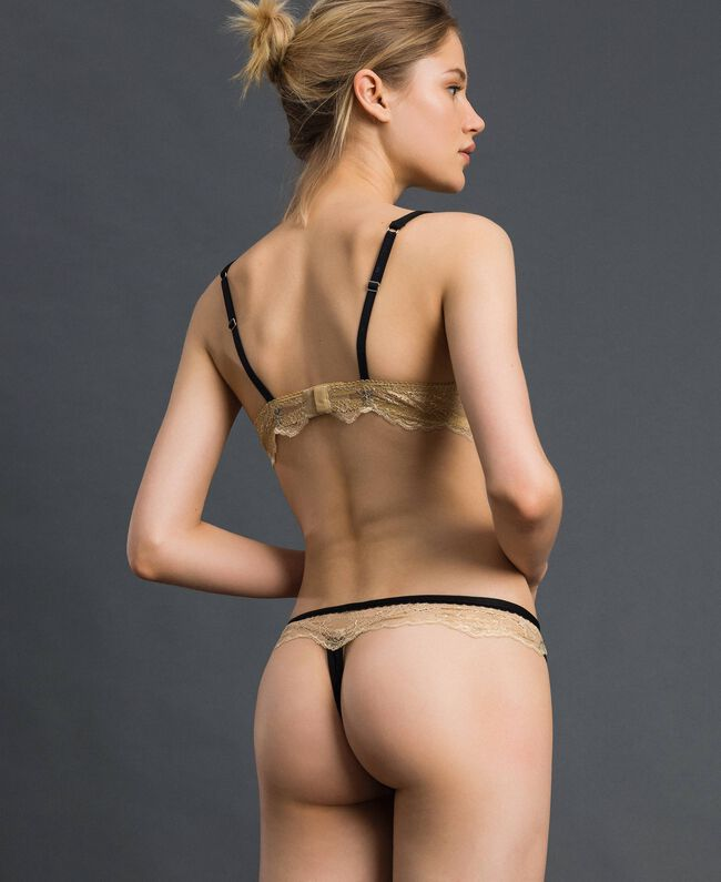 Studs and lace G-string Black Woman 192LL6J88-03