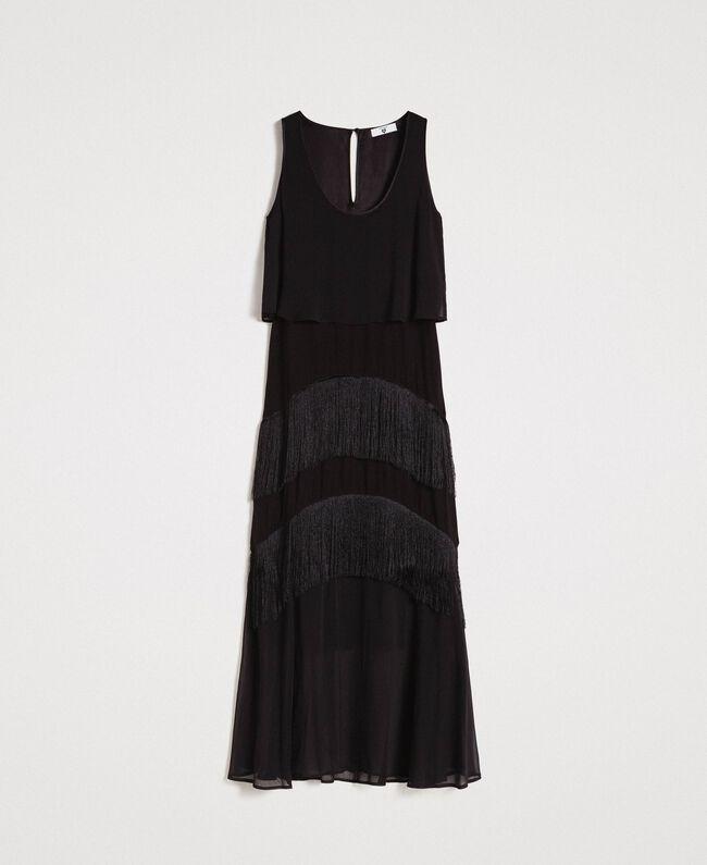 Robe longue en satin et mousseline avec franges Noir Femme 191LM2BDD-0S