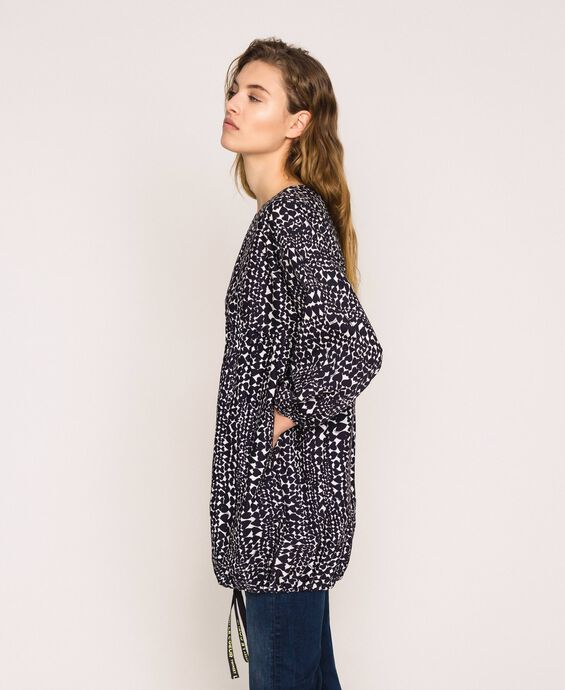 Blouse with heart motif print and drawstring
