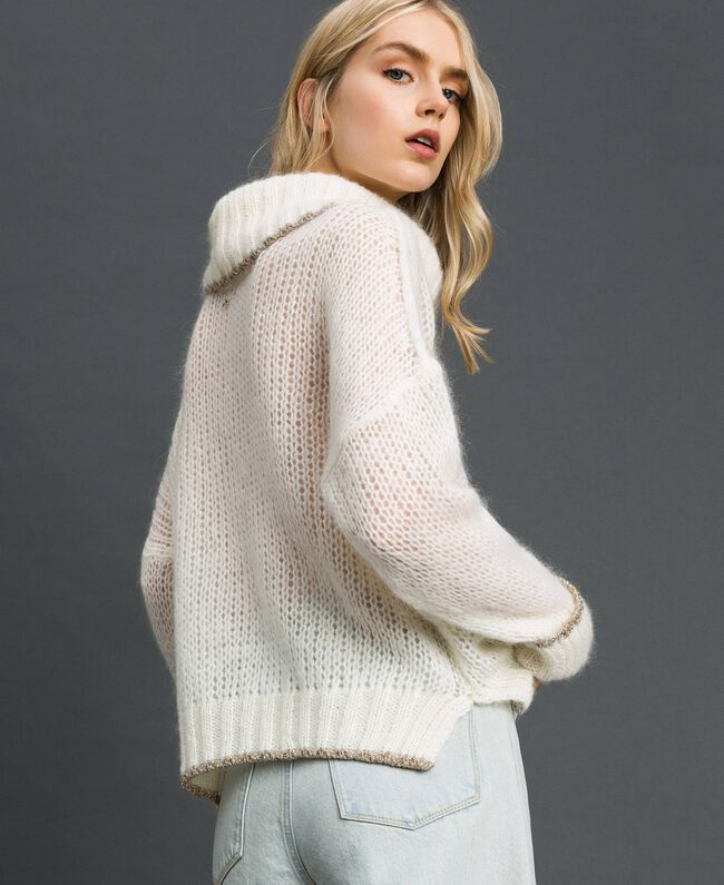 Mohair jumper with lurex stripes Papyrus White Woman 192TP3292-03