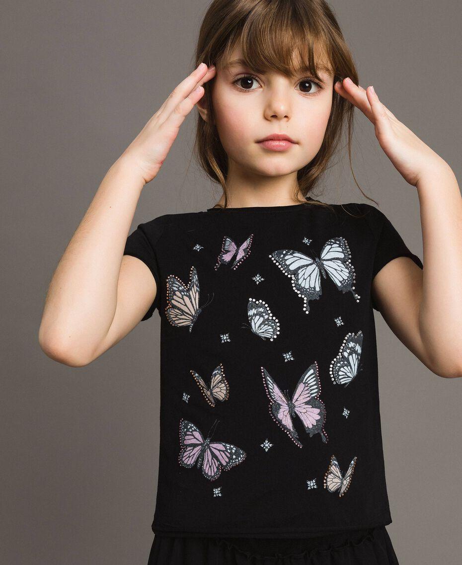 T-Shirt aus Jerseystoff mit Schmetterlingen und Strass Schwarz Kind 191GJ2310-0S