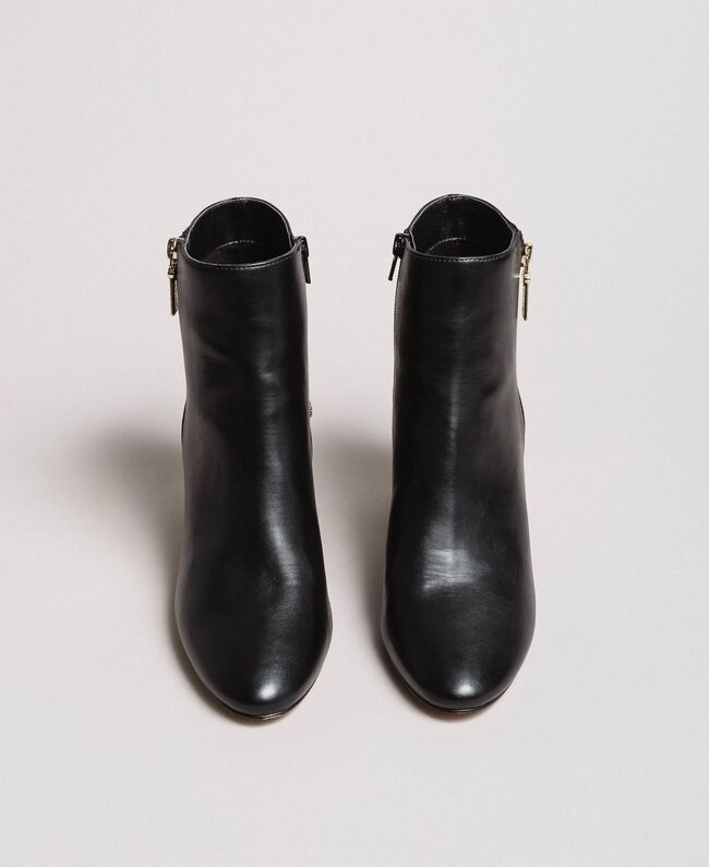 Faux leather ankle boots with jewelry heels Black Woman 191MCP046-04