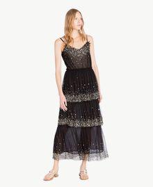 Kleid aus Tüll Schwarz Frau TS82EG-01