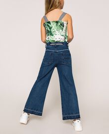 Jeans wide leg con cintura Bicolor Denim Medio / Vichy Bambina 201GJ2011-03