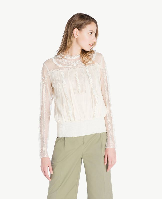 Embroidered blouse Ivory Woman TS82BB-01