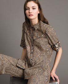 Animal print crêpe shirt Mixed Animal Print Woman 191TP2701-05