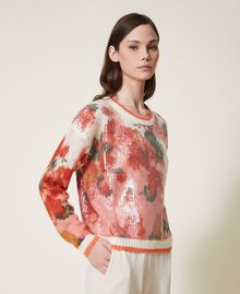 Mohair and wool jumper with sequins Ivory / Coral Dream Large Flower Print Woman 202TT3281-01