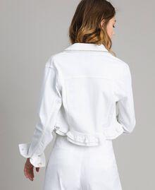Jacke mit Rüschen und Stickerei Weiß Frau 191MT2442-03