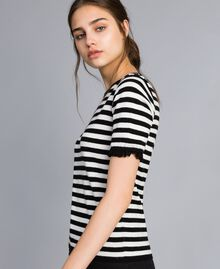 Striped cashmere blend top Black / Mother-of-pearl White Stripe Woman SA83FQ-02