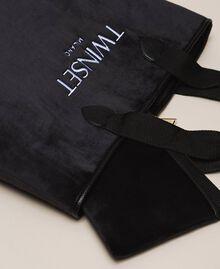 Бархатная сумка-шоппер с пошетом Черный женщина 999TA7010-02