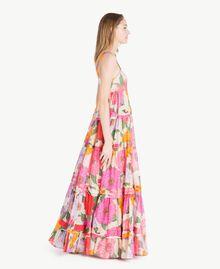 Langes Kleid aus Musselin Makropfingstrosen-Print Frau TS825C-02