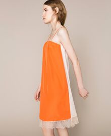 "Lace slip dress Two-tone ""Calendula"" Orange / Off White Woman 201MT2282-04"
