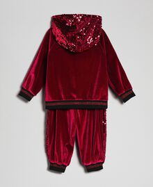 Velvet sweatshirt and sequin trousers Ruby Wine Red Child 192GB2092-0S