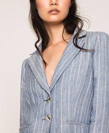 Double breasted pin stripe linen blazer Blue Pin / Antique White Stripes Woman 201TT2303-04