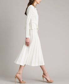 Mid-length skirt with lurex stripes Black Woman 191TP3253-01