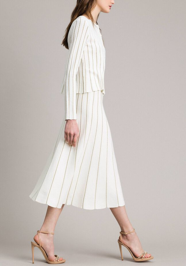 Mid-length skirt with lurex stripes